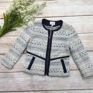 Hinge tweed boho jacket blazer career print